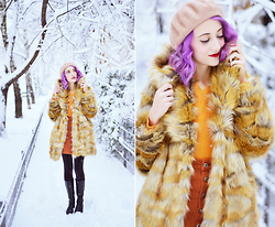 Evelyn Moon - Asos Faux Fur Coat, Pull & Bear Mini Skirt - Welcome to Narnia