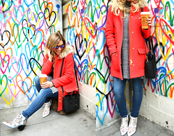 Katie Miller - J Crew Electric Red Parka, Dl1961 Skinny Jeans, Celine Micro Luggage Handbag, Jeffrey Campbell Shoes Jeweled Ankle Boot, Ray Ban Sunglasses - Bleeding Hearts