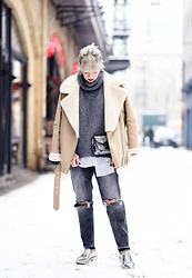 Esra E. - Zara Camel Shearling Jacket, H&M Grey Distressed Jeans, Zara Silver Lace Up Shoes, Furla Mini Metropolis Bag - Mbfwb