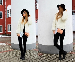 Julia Vorik - Asos Hat, Asos Boots, Rebecca Minkoff Bag, Optics Look Sunglasses, Sheinside Furcoat - Paris street style