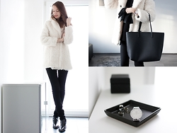 Lorietta.cz - Cluse Silver Watch, Mango Faux Leather Bag, Zara Faux Leather Pointed Boots, Stradivarius Faux Fur Coat - Silver Watch