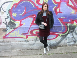 Lauren Rose Bell - New Look Cord Pinafore Dress, New Look Fur Coat, Zara Bag, Asos Snakeskin Boots, Zara Roll Neck - East London.