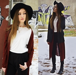 Andreea Miclăuş - Kurtmann Marsala Cardigan, Kurtmann White Basic T Shirt, Kurtmann Ring, Romwe Crystal Necklace, Romwe Black Blazer, Bershka Striped Pants, H&M Black Leather Boots, Terranova Black Fedora Hat - //marsala stains in the snow