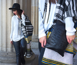 Sarah K. - Pieces Scarve, G Star Raw Pants, Edited Necklace, New Look Clutch - Frozen Fashion Week