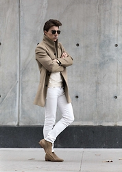 O C - Saint Laurent Boots, Saint Laurent Jeans - Cream