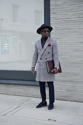 YinkaJermaine - David Naman Houndstooth Double Breasted Coat, Reiss Tailored Trousers, Asos Turtle Neck, Larose Fedora, Russell And Bromley Monk Strap Shoes - Houndstooth Pattern
