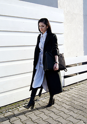 Kat I. - Sammydress Coat, The Fifth Via Bnkr Dress, Emily Cho Bag, Daniel Wellington Watch, Pull&Bear Pants, Zara Shoes - Mf/013116