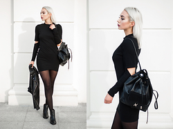 MONIKA S - Romwe Cutout Dress, Zara Leather Backpack, Zara Ankle Boots, Leather Jacket - EASY