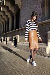Paz Halabi Rodriguez - Handmade Stripes Cropped Sweater, Zara Leather Pencil Skirt, Adidas White Stan Smith Sneakers - LEATHER PENCIL SKIRT & STRIPES