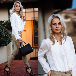 Caro Daur - Gucci Blouse, Givenchy Pants, Fendi Bag, Giuseppe Zanotti Shoes - SILK & LEATHER