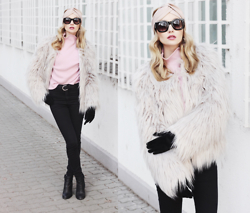 Chloe From The Woods - Sheinside Pink Mock Neck Lantern Sleeve Crop Sweater, Chic Wish Faux Fur Coat In Silver, Zerouv Retro Thick Bold Horned Rim Frame Sunglasses - FLUFFY AND ROSE