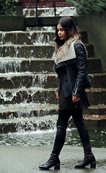 Maria P - Dynamite Shearling Jacket, Goldie London Bronze Lace Skater Skirt, Aliexpress Black Over The Knee Boots - Shearling, Bronze Lace & OTN Boots