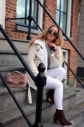 Lilia - H&M White Jeans, River Island Furry Bag, Choies Shearling Jacket, Gentle Monster Sunglasses, River Island Sweater - Spring time?