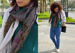Nada Qamber - H&M Dark Green Shirt, Bershka Blue Jeans, New Look Baby Pink Jacket - Casual Winter