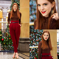 Sonja Vogel - Forever 21 Glitter Mock Top, Loavies Red High Waisted Trousers - Festive in Red