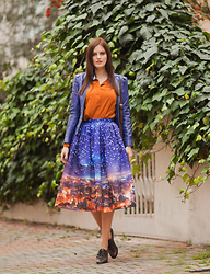 Viktoriya Sener - Derimod Leather Jacket, Ax Paris Shirt, Chic Wish Midi Skirt, Hotic Shoes - ULTRAMARIN