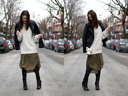 Anik L.R. - Topshop Faux Leather Jacket, Aritzia Sweater, Forever 21 Dress - Dancing in the street