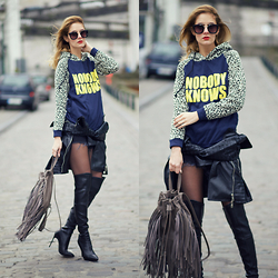 Ruxandra Ioana - Tomtop Hoodie, Choies Over The Knee Boots - Nobody Knows