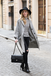 Meagan Brandon -  - Slouchy Coat & Stripes