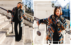 Miu PHAM - River Island Colorful Fur Coat, Isabel Marant Grey Coat, H&M Velvet Flared Pants - Colorful Fur Coat