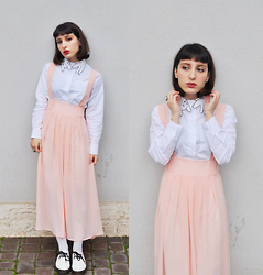 I L L Y - Choies Cat Collar Shirt, Dresslink Suspenders Skirt - MARSHMALLOW