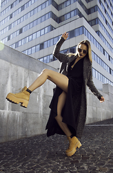 Darina Suprun - Zara Coat, Jeffrey Campbell Shoes Boots, Weekday Dress - Boom