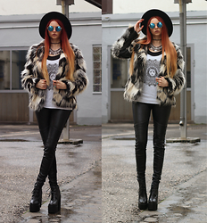 Liza LaBoheme - Faux Fur Jacket, Mandala Print Top, Coin Necklace, Faux Leather Pants, Similar Here:, Platform Heels, Similar Here: - We lay awake silent in the dark