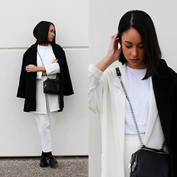Esther L. - Missguided White Oversized Blazer, Missguided Cigarette Trousers, Pepa Loves Coat, Zara Chain Bag, Zara Basic T Shirt, Zara Loafers - THE BLACK AND WHITE LAYERED LOOK