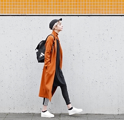 Ebba Zingmark - Monki Coat, For Good Luck Dress, Adidas Pants, Lacoste Shoes, Adidas Backpack - MOVIN