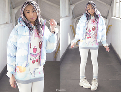 Shady Kleo - Lazy Oaf Cloud Puffer Jacket, Cutesy Kink Bunny Hoodie, Topshop White Jeans, Buffalo White Boots - Winter Wrap Up