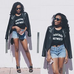 Nkenge Brown - Private Party Hashtags & Retweets Tank, Mackage Leather Jacket, Polette Mono Sunglasses, Thrifted Levi's High Waisted Shorts - Hashtags & Retweets