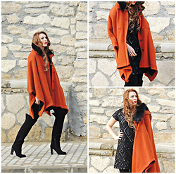 Daniela Macsim - Local Store Cape, Local Store Over The Knee Boots, Local Store Sequins Dress - Orange riding hood