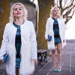 Eleonora Petrella - Sheinside Sequin Dress, Chic Wish White Faux Fur Coat - Sequin dress and so many dreams!