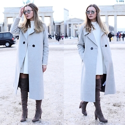 Livia Auer - Dior So Real Sunglasses, Asos Coat, Asos Suede Over The Knee Boots, Miss Selfridge Swing Knit Dress - MBFW Berlin No. 1