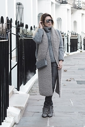 "Iam Chouquette - See World Optical Aviators, Chanel Woc, Asos Knitted High Neck Jumber, Leather Trousers, Chloé Chloe ""Susanna"" Boots, I Love Mr Mittens Blanket Scarf, Hermès Hermes Cdc Cuff - The ""Groutfit"""