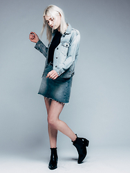Rima Vaidila - Aritzia Denim Jacket, Levis Denim Skirt - Denim on denim