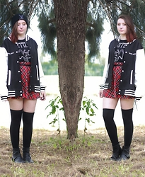 Sarah W. - Black Altar Apparel Ouija Varsity Jacket, Tripp Tartan Skirt, Black Altar Apparel Sigil Of Lucifer Beanie - BLACK ALTAR