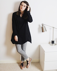 Georgie J - House Of Sunny Black Top, Warehouse Grey Wool Trousers, Nike Cortez In Bronze - House of Sunny Purism Shirt