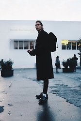 Richy Koll - Dr. Martens Oxfords, Adidas Socks, Edwin Jeans, Over Coat, Sandqvist Backpack - Berlin day 3