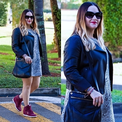 Alice Hernandez - Colab Black Leather Crossbody, Pura Vida Bracelets, Ann Taylor Leather Jacket, Quay Cateye Sunglasses, Nike Suede Sneakers - Dressy Casual
