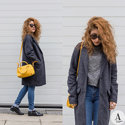 Diana Manolova - Only Oversized Coat, Zara Turtle Neck Sweater, Zara Jeans, Zara Shoes, Mango Mini Bowling Bag, Urban Outfitters Sunglasses - Bring Colour in Your Grey World