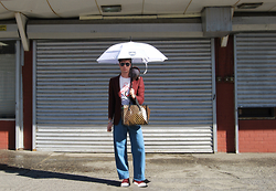 Matthew Reinhold - Prada Shoes, Pearl River Jeans, Street Market Urban Luggage, Jaeger Blazer, Mcm Umbrella, Polo Ralph Lauren Sunglasses - Chinatown