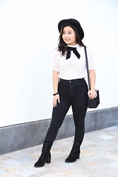 Kristen Tanabe - Forever 21 Black Felt Hat, The Kooples Bow Blouse, Topshop Black High Waisted 'Joni' Jeans, Pink Haley Crossbody Clutch, La Canadienne Black Lace Up Boots - Topped Off w/ a Bow