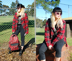 Ashley & Erica T - Quay Cat Eye Sunglasses, Tripp Nyc Oversized Moto Jacket, Truly Madly Deeply Muscle Tee, Bdg Midi Jeans, Dangerfield Tartan Backpack, Unif Alec Boots - School Burn