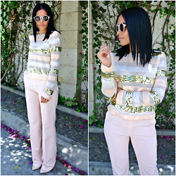 Fernanda Flores - Felix Boutique Sequins Top, Zara Pointy Heels, Zara Soft Pink Trousers, Forever 21 Round Sunnies - BLUSH