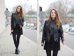 Zuzia R. - Stradivarius Skirt - Denim skirt and leather jacket
