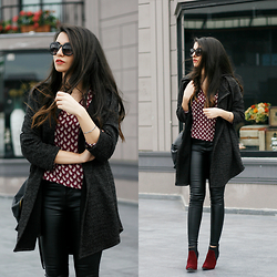 Melike Gül - Dealsale Shirt, Romwe Pu Leather Pants, Zerouv Sunglasses - Burgundy