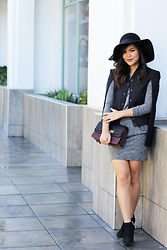 Olivia Yuen - Topshop Hat, Bcbg Cape, Zara Dress, Zara Bag, Steve Madden Shoes - Downtown Cape