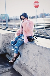 Aika Y - Thp Shop Baby Pink Faux Fur Jacket, Forever 21 Mini Crossbody Bag, One Teaspoon Ripped Boyfriend Jeans, Justfab Black Lace Up Heels - Fur Jacket x Ripped Jeans x Lace Up Heels