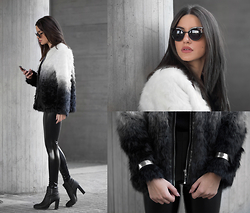 Christina Foka - Ivyrevel Faux Fur Coat, Freyrs Eyewear, Black Milk Clothing Silk Leggings - Ombre Blvck